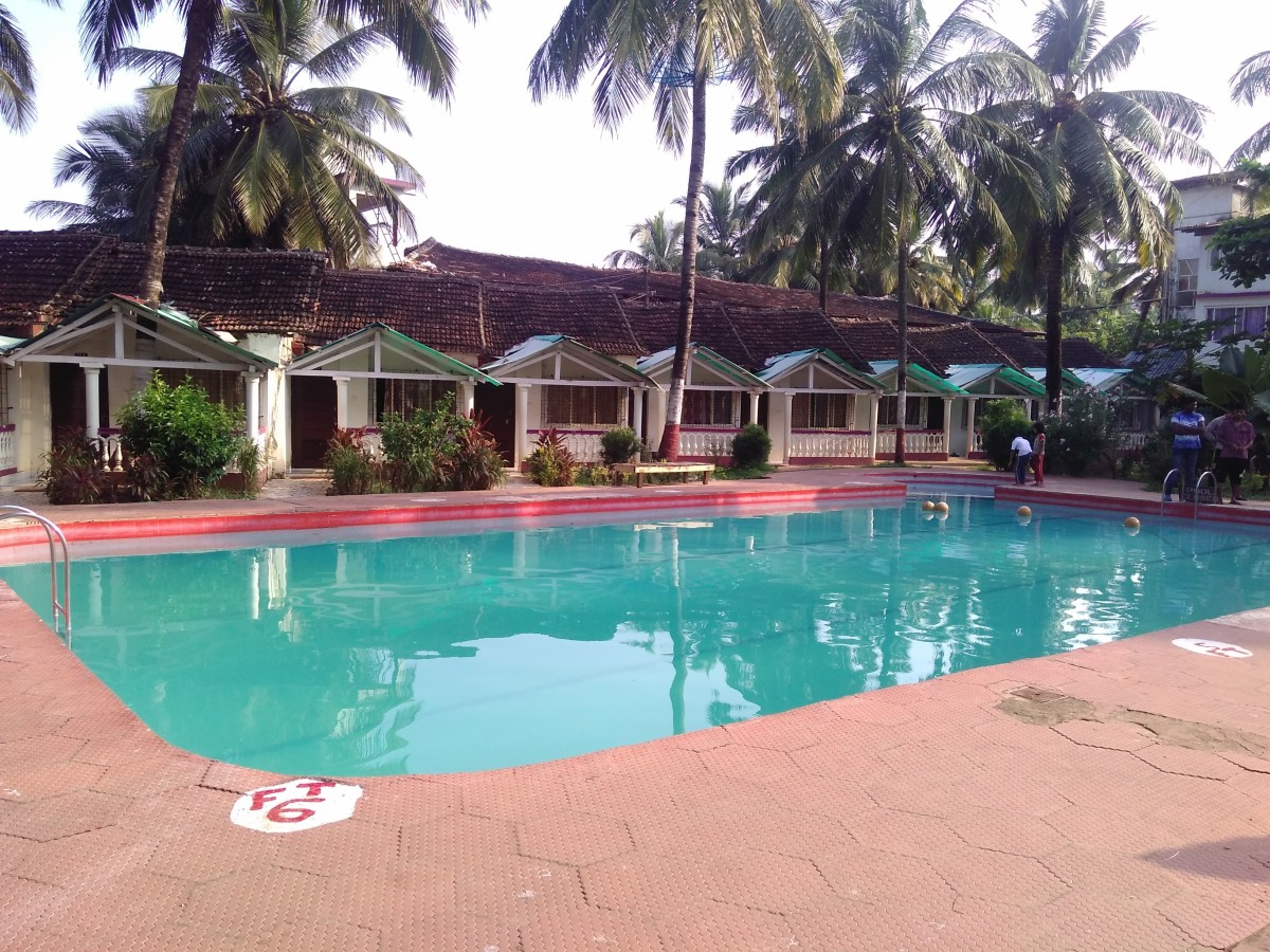 A pool at Colva Beach Resort, a budget hotel in Colva.