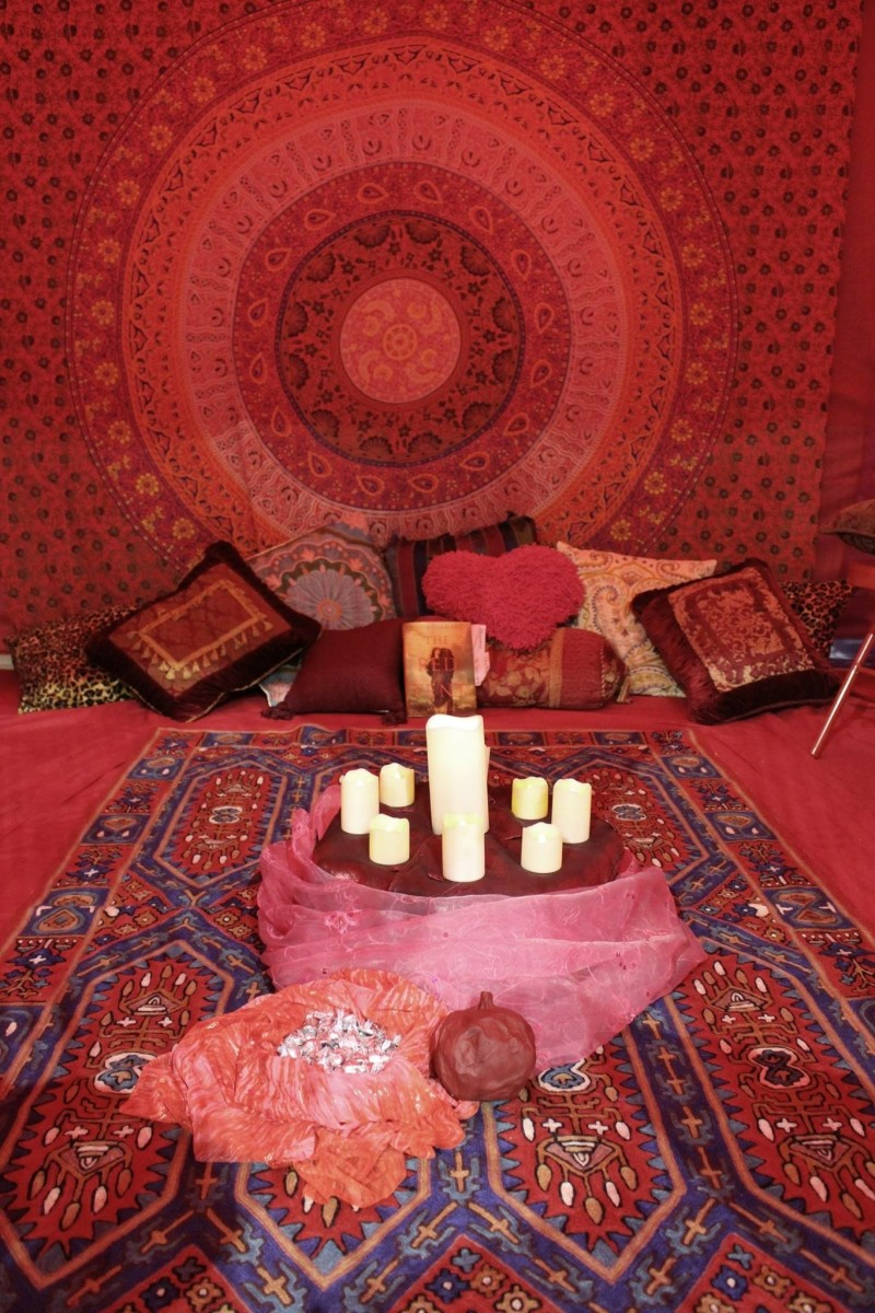 A modern Red Tent temple space similar to how the space was set up in Ancient times.