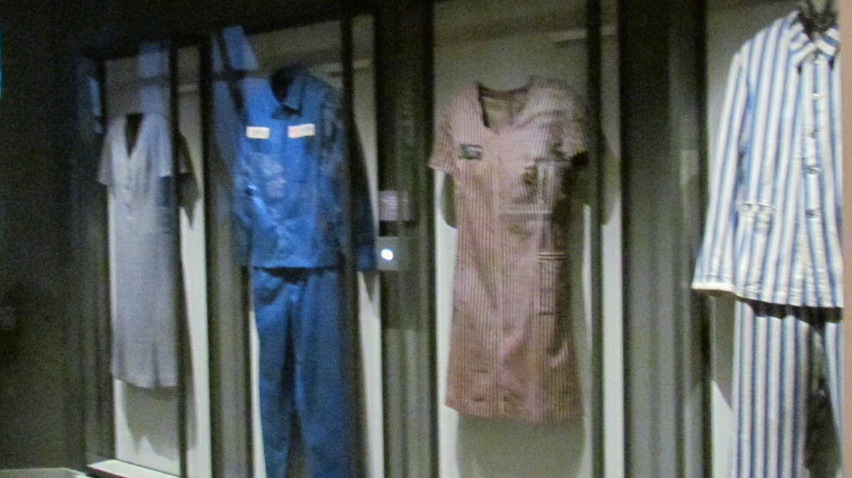 Uniforms worn by Jehovah's Witnesses when they were imprisoned because of their beliefs. They were placed in various concentration camps during the Hitler regime