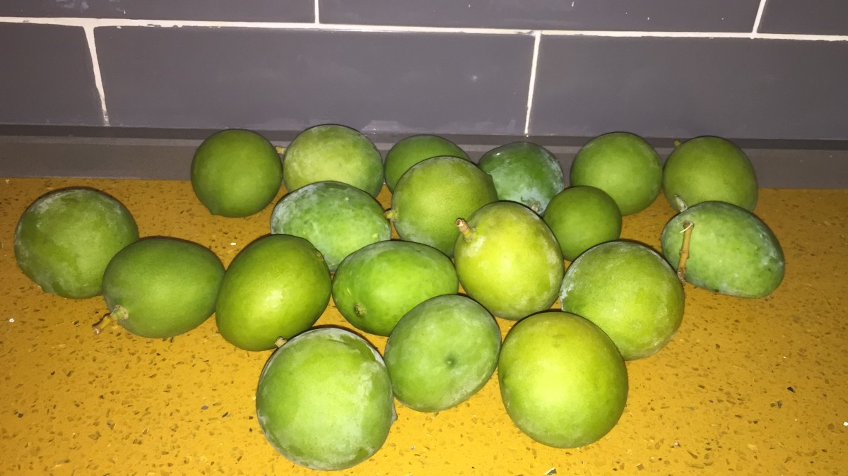 The green mangos I used. As you can see they are not very large that's why 2 dozen may sound like a large figure, but in hind sight it really is not. I always make sure to wash them first of course:) Note, some mangos were peeled prior to taking pic!