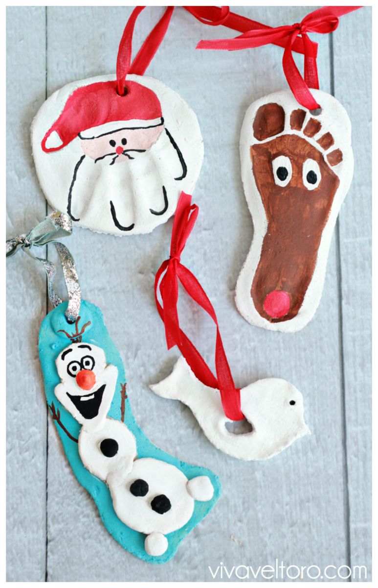 Here's a reindeer footprint and Olaf ornaments made from salt dough