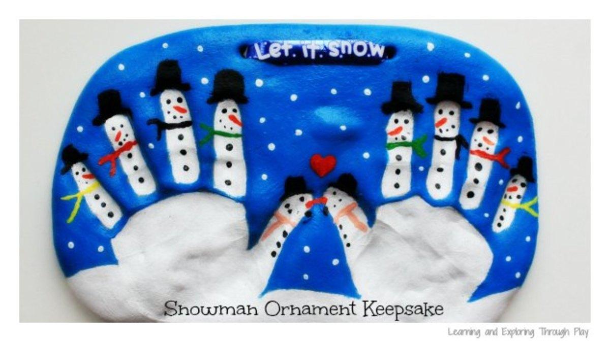 I love these snowmen handprint salt dough ornaments...