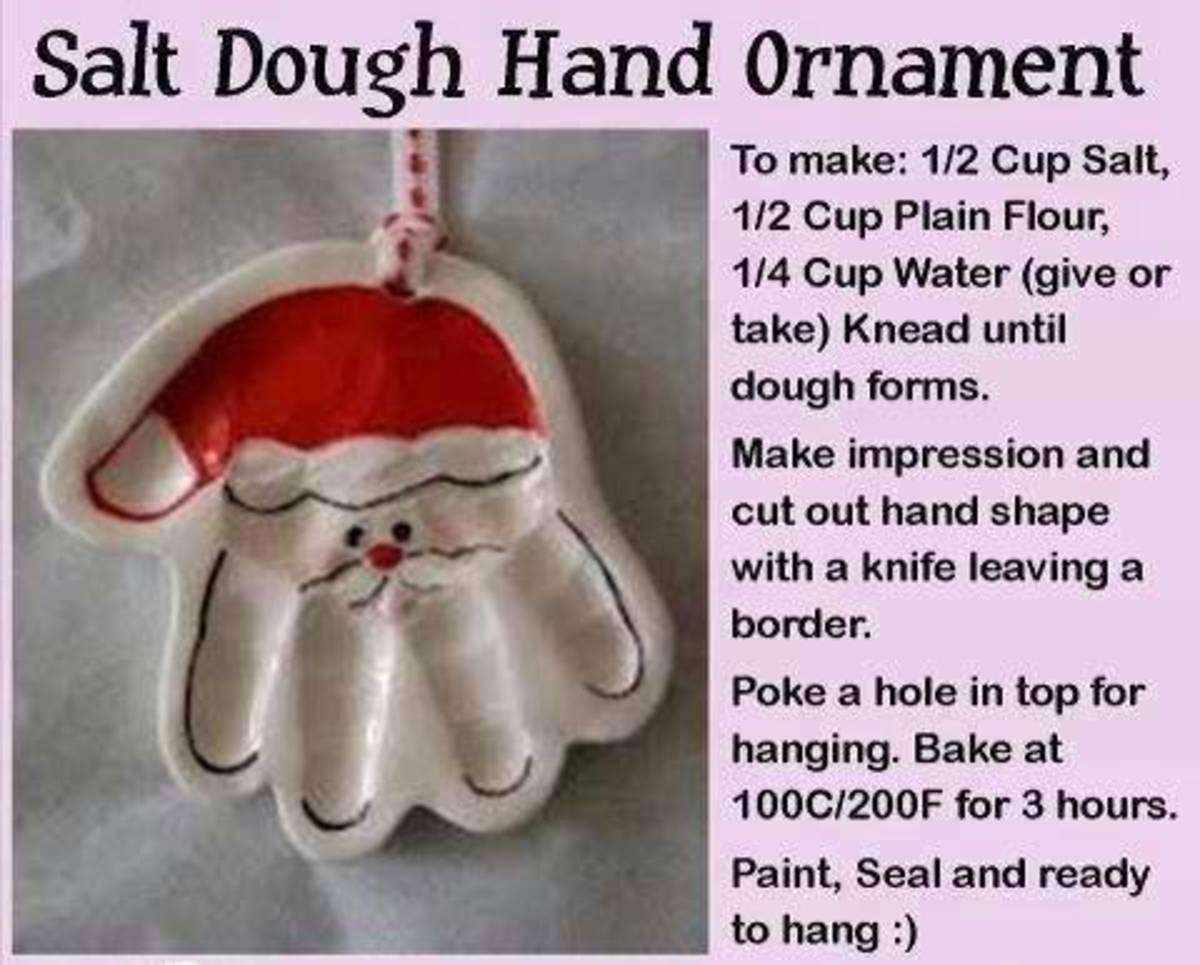 I found this wonderful Salt Dough Santa made from a handprint