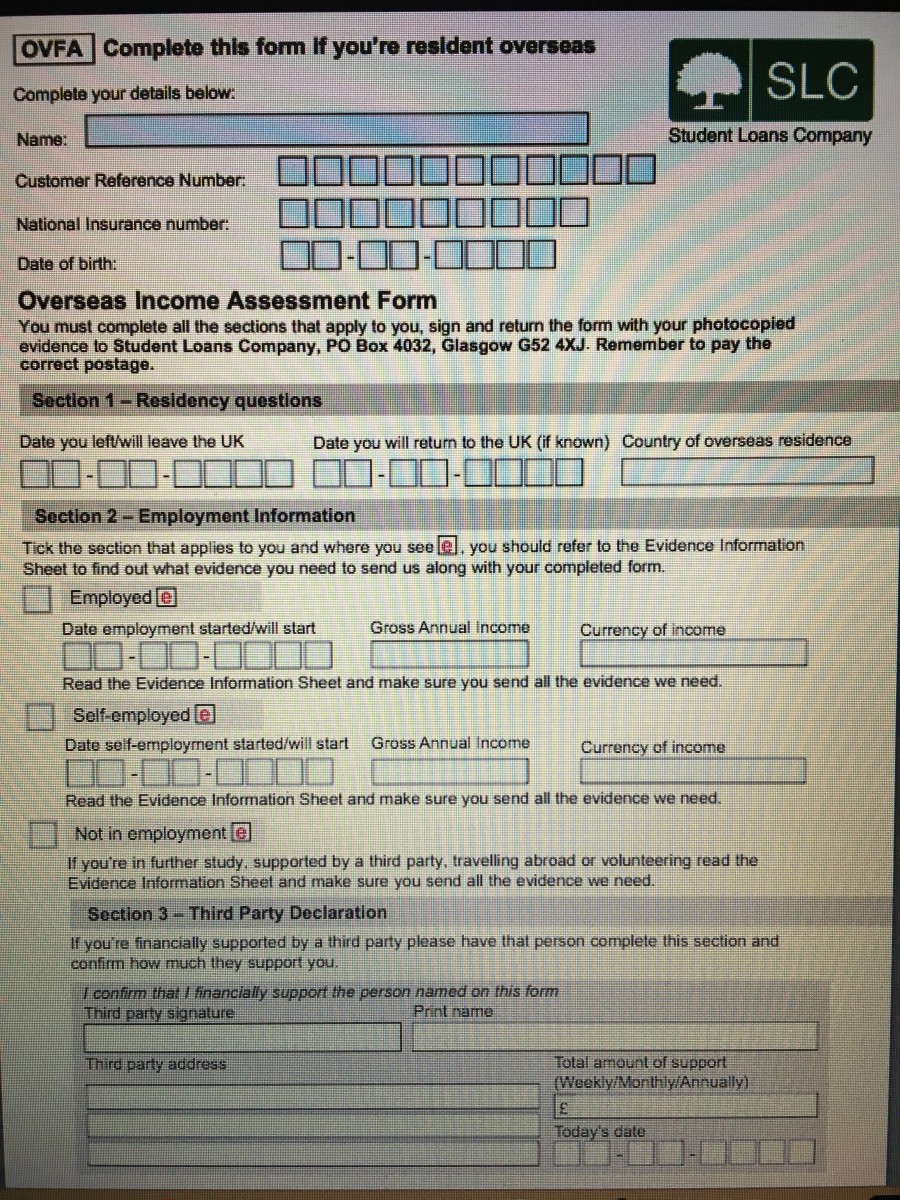 Overseas Income Assessment  Income Assessment Form