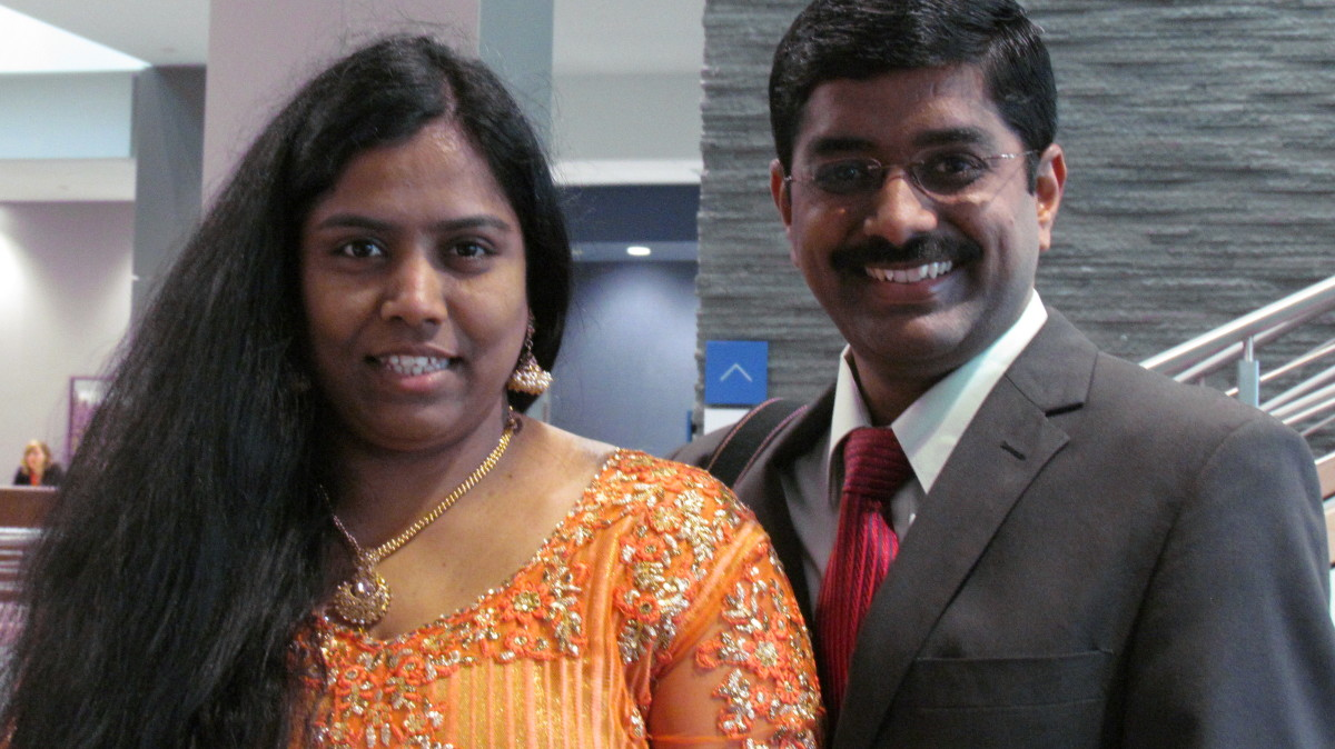 This beautiful couple, Ashwini Daniel and Daniel Franklin, were touring the Warwick headquarters of Jehovah's Witnesses. They currently live in Manchester County, Connecticut, although originally from South India.