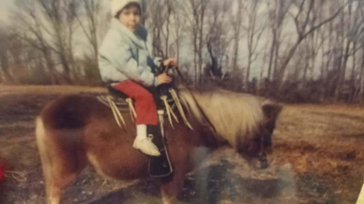 Jill, my very first pony and I.Evidently, I was scared of her . I only remember that she was great but my parents said I was nervous on her.