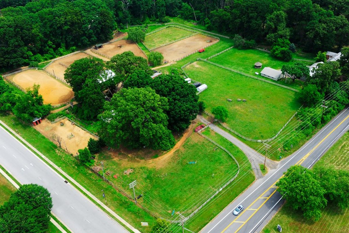 This is an overhead of our farm now. What I would have given to have all those real jumps to jump my fake horses over :-)