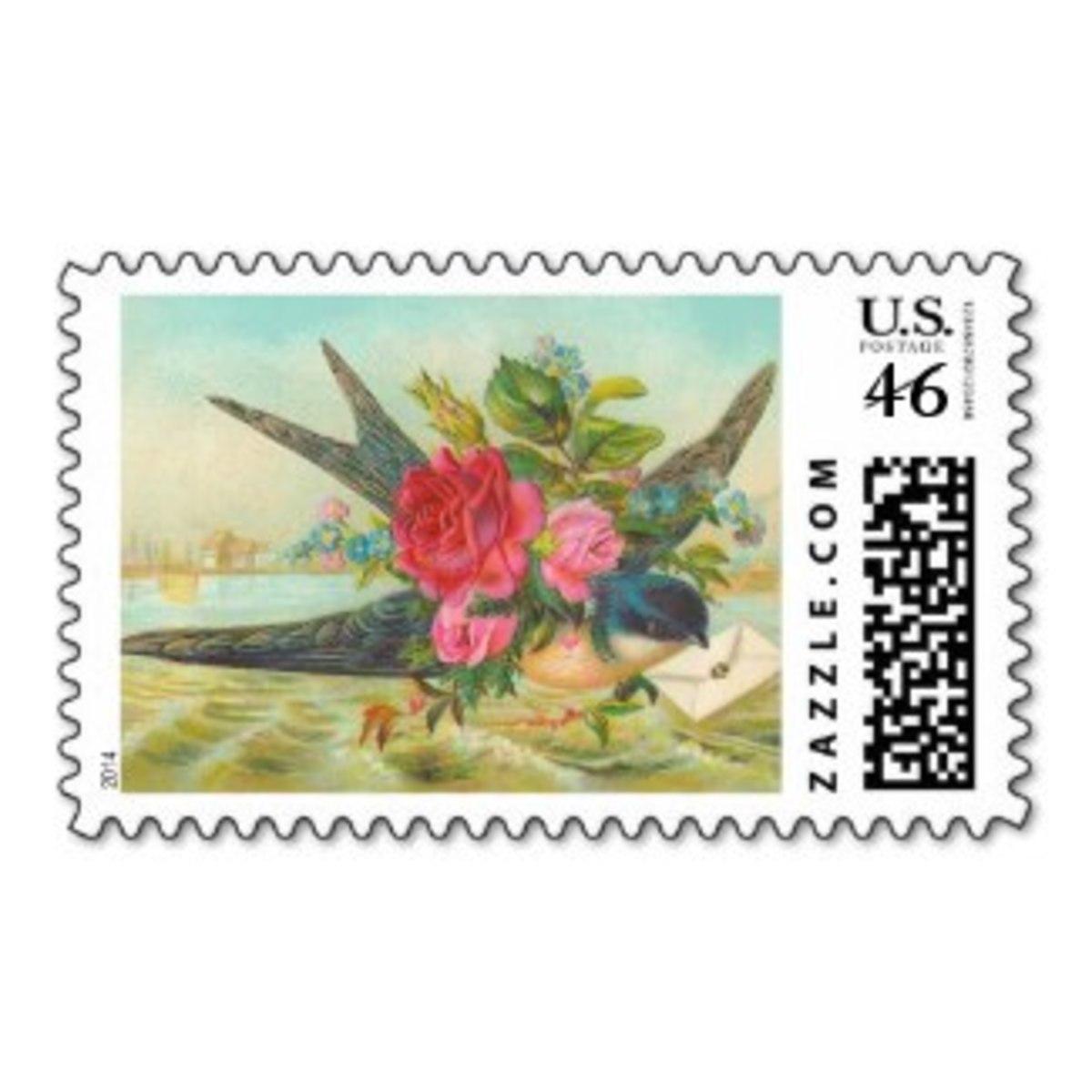 Vintage Blue Bird Postage