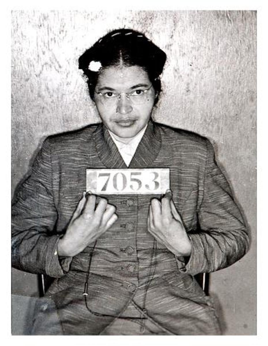 Civil rights pioneer Rosa Parks was photographed by Alabama cops following her February 1956 arrest during the Montgomery bus boycotts. The booking photo, taken when Parks was 43, was discovered in July 2004 by a deputy cleaning out the court house.