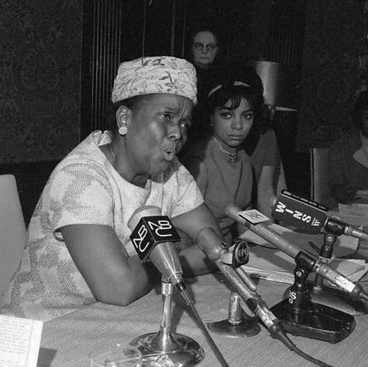Ella Baker, official of the Southern Conference Educational Fund, speaks at the Jeannette Rankin news conference on Jan. 3, 1968. (AP Photo)