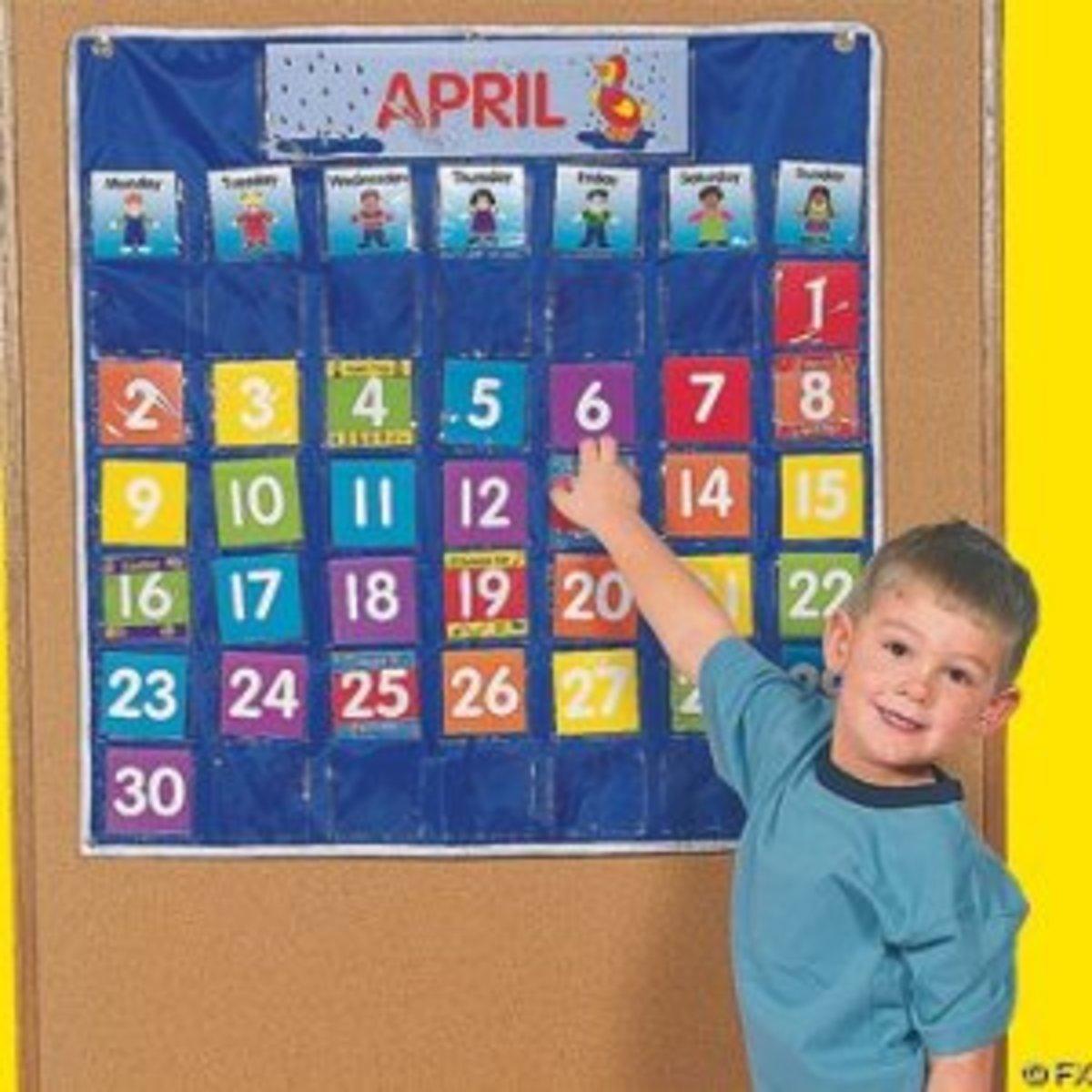 Nylon Classroom Calendar Pocket Chart