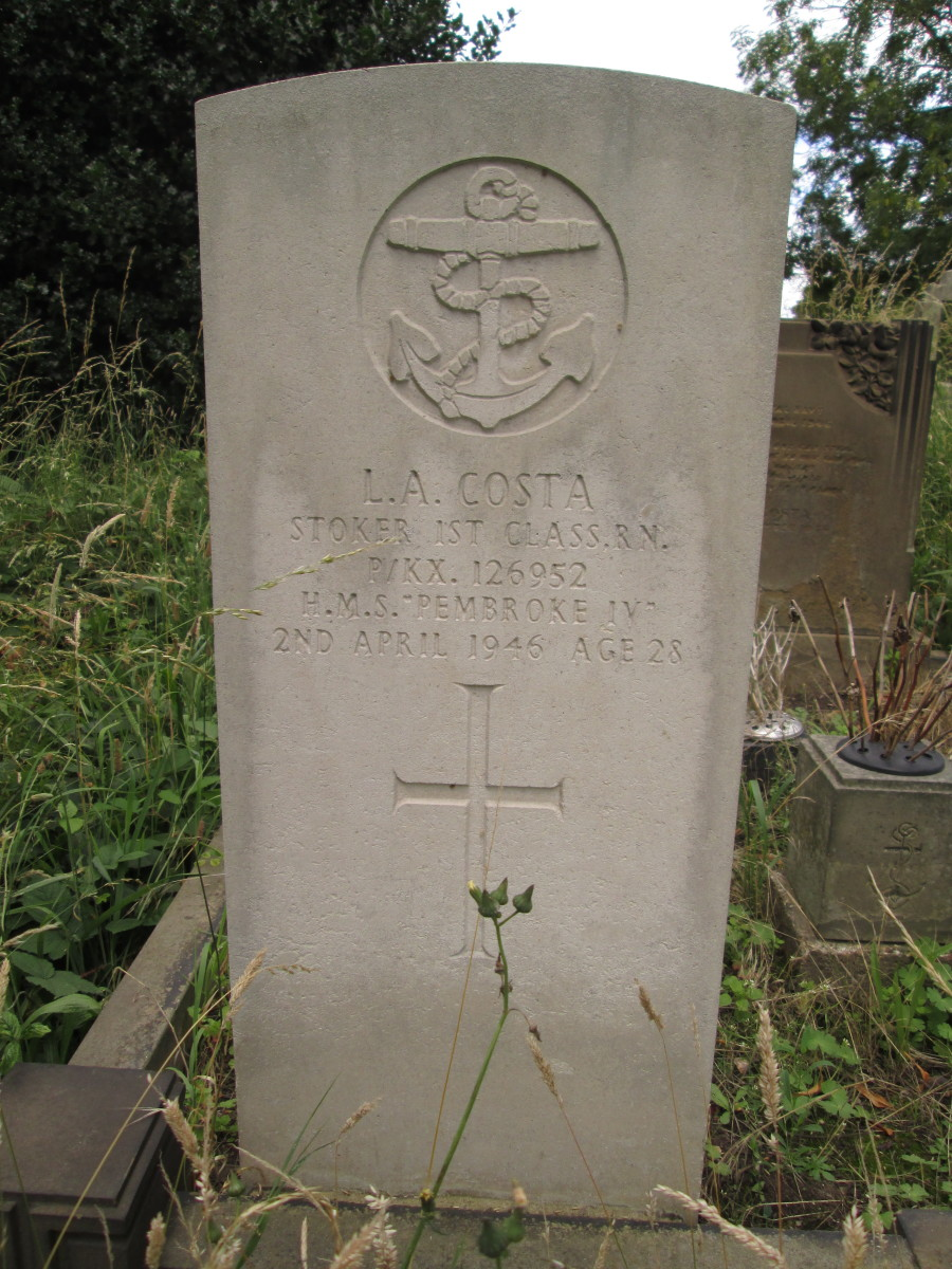 L A Costa, Stoker First Class lived through WWII, only to succumb to fate almost a year after hostilities ended... see below