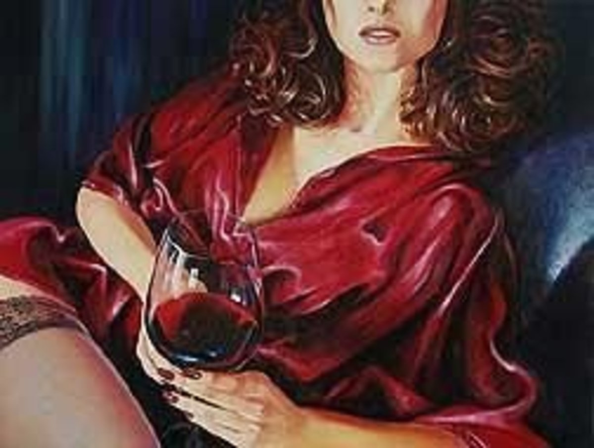 Lady with Glass of Red Wine