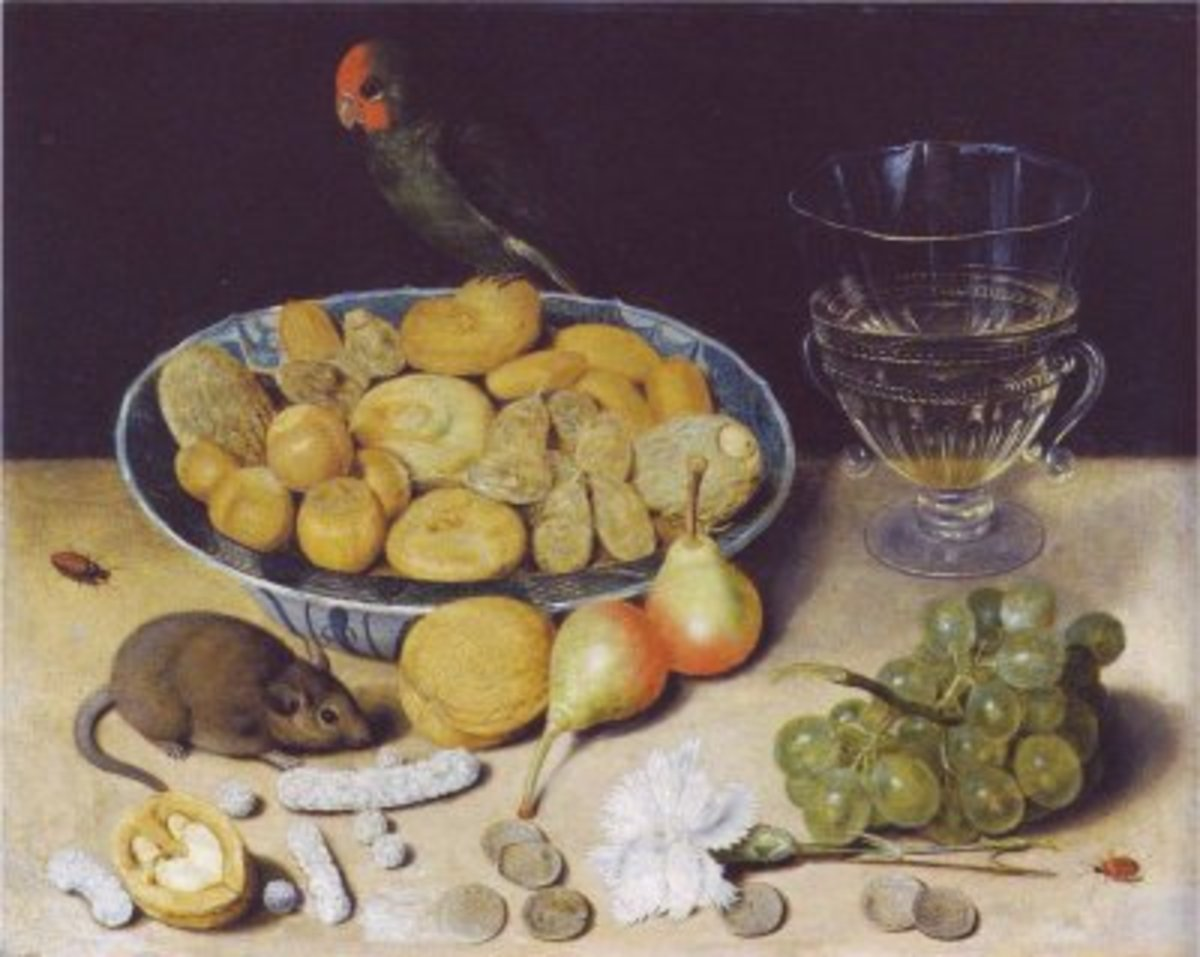 Wine and Fruit, Mouse and Parrot - Georg Flegel