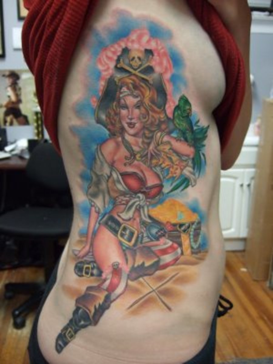 Pirate pin up girl tattoo