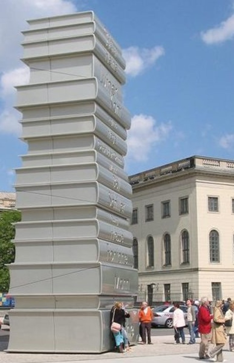 Gigantic Books symbolically towering over libraries as a sign of their being live and continuously in our midst