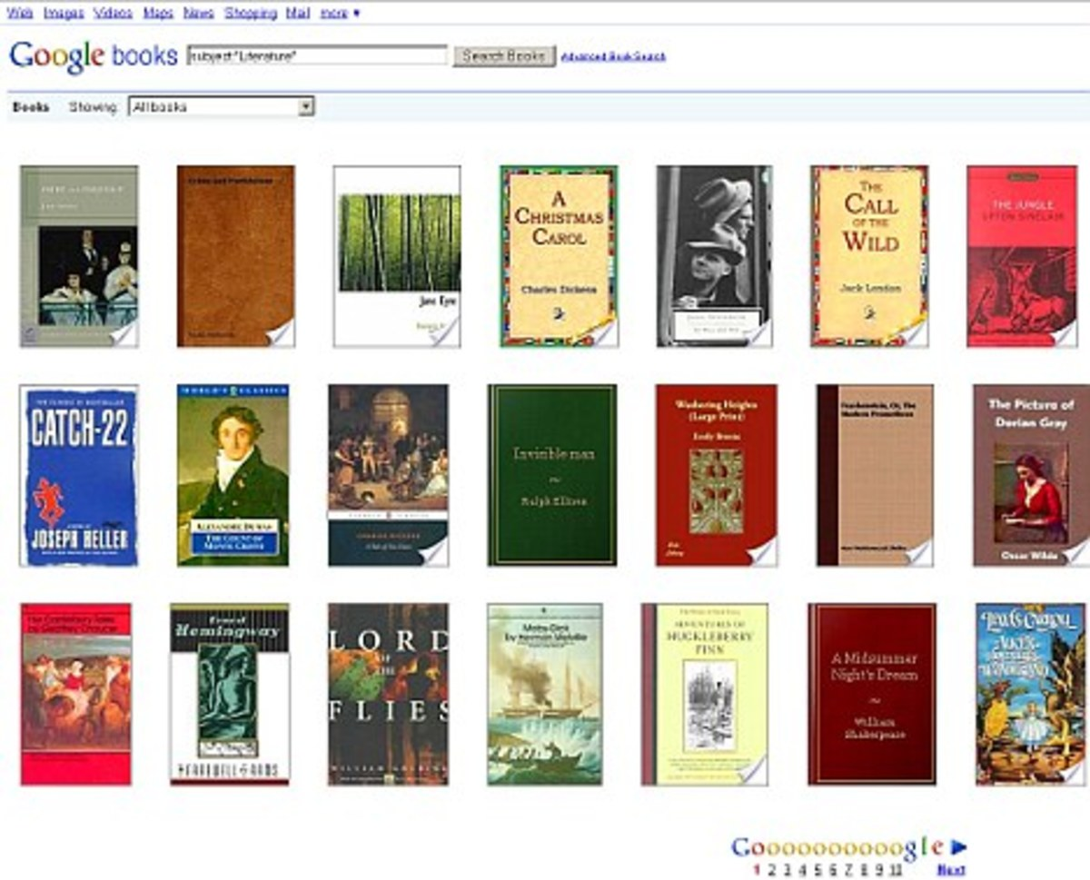 A Screen Grab from the current Google Books Service. The Internet giant is attempting to create the World's largest online library
