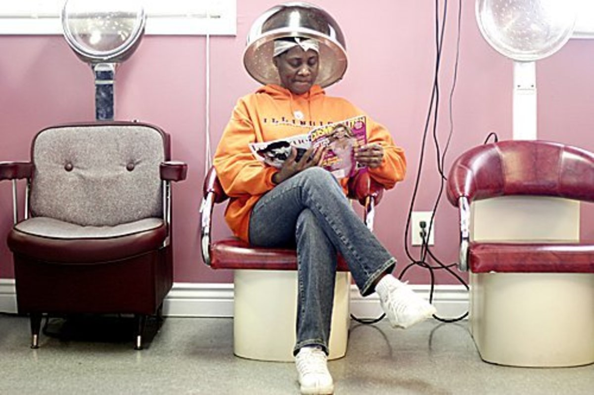 Sitting under the dryer