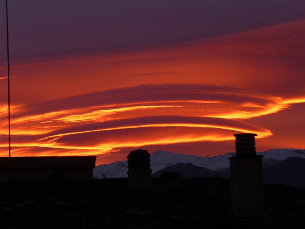 Lenticular clouds over Sierra Nevada