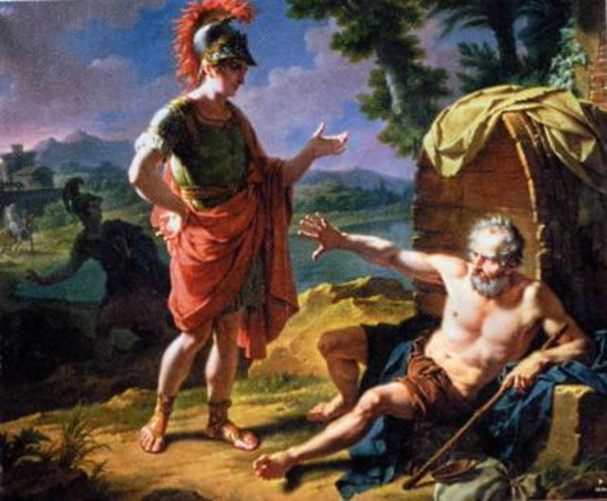 1818 Painting of Alexander the Great and Diogenes by Nicolas-Andre Monsiau, a French history and portrait painter.