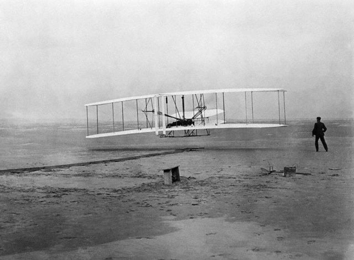 The first flight at Kitty Hawk, North Carolina on December 17, 1903