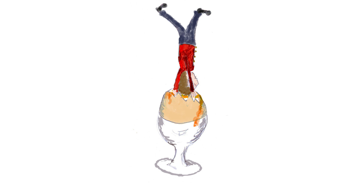 A Soldier Being Dunked in a Boiled Egg