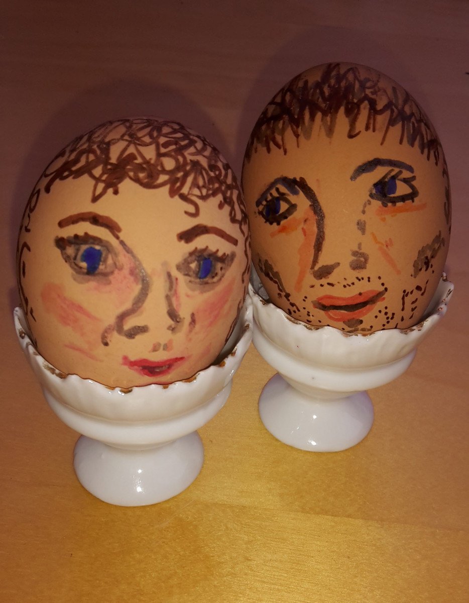 Two Eggheads  (I love decorating my hard-boiled eggs before putting them in the fridge)