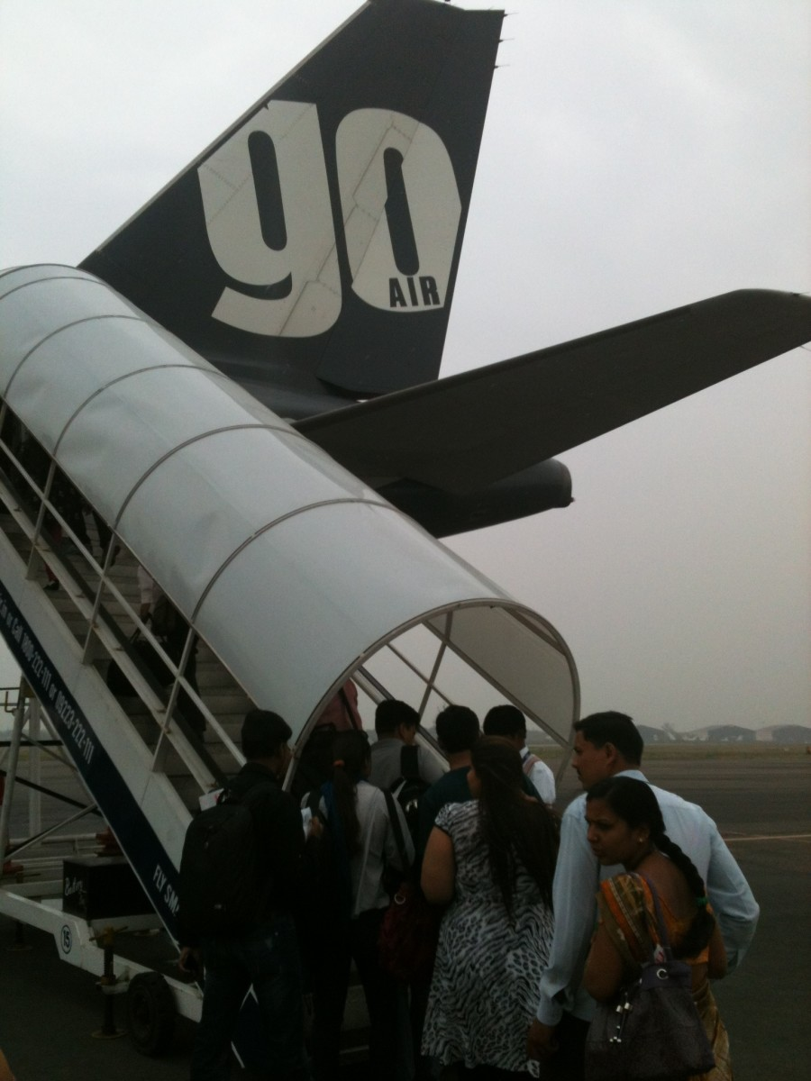 Go Air flight standing at Dabolim Airport. Decent staff beautiful air hostess, but need to improve so many things that I will list in another hub.