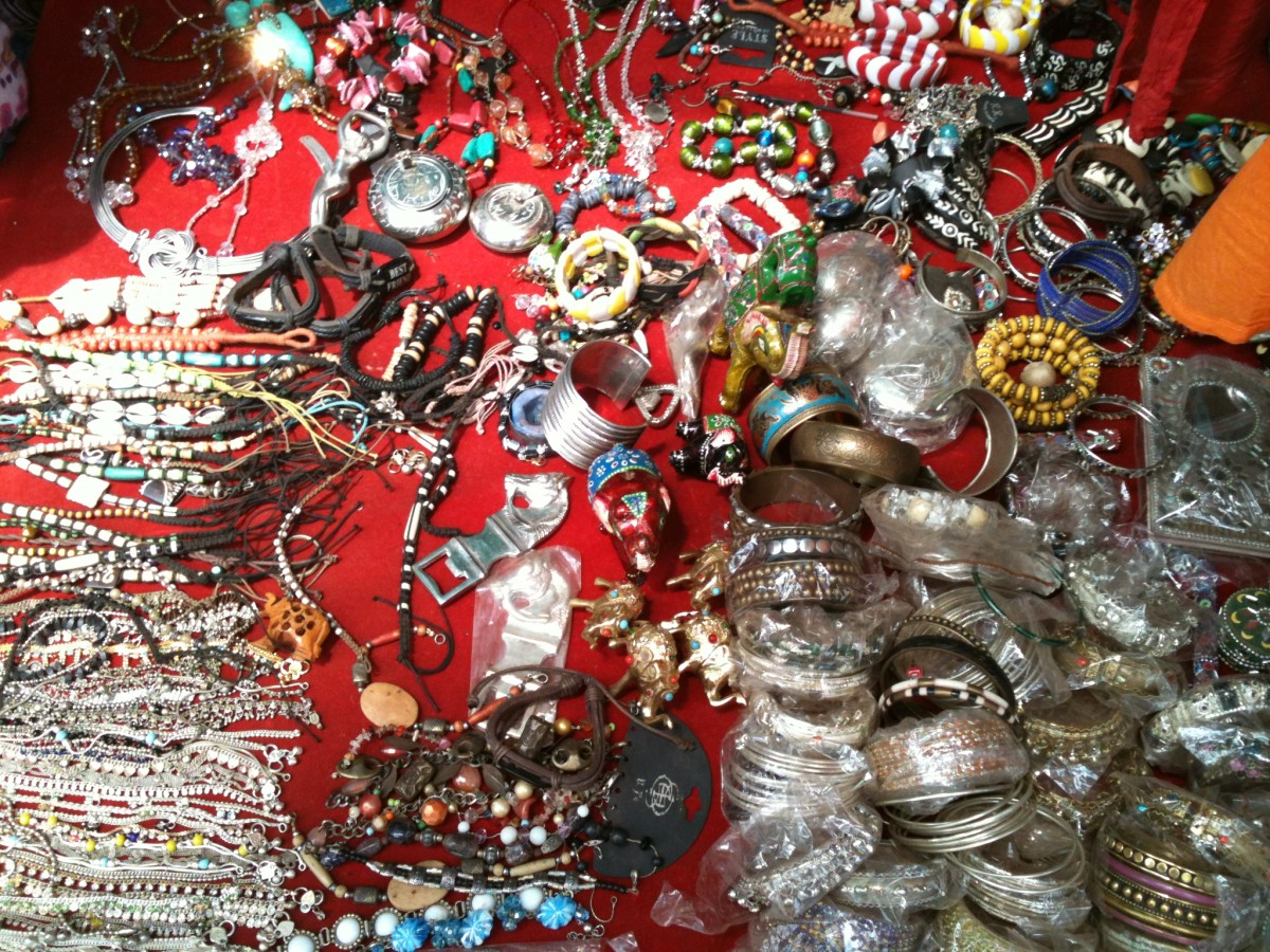 You can buy lots of artificial gems and jewels near Anjuna Beach right along the stairs going down to the beach itself.