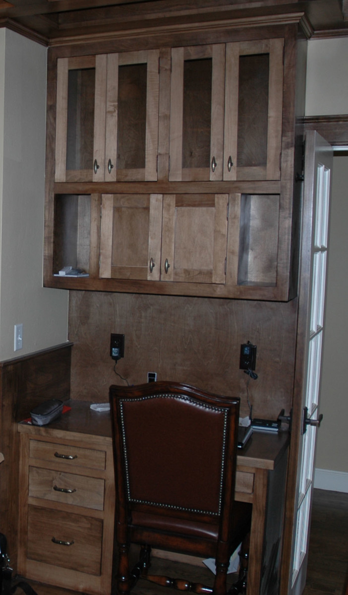 Once a closet butting up against a hall coat closet, this space was repurposed as a built-in desk.