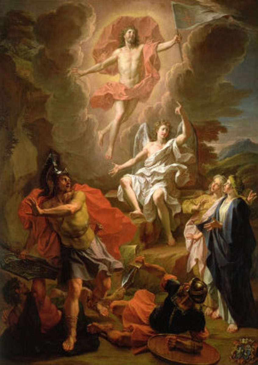 Out of copyright. See: http://en.wikipedia.org/wiki/File:Noel_Coypel_The_Resurrection_of_Christ.jpg
