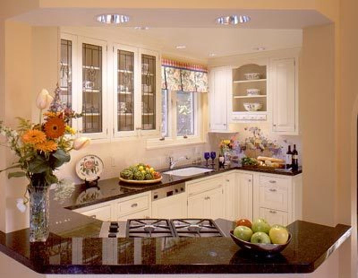 Kitchen Cabinets with Leaded Glass Doors