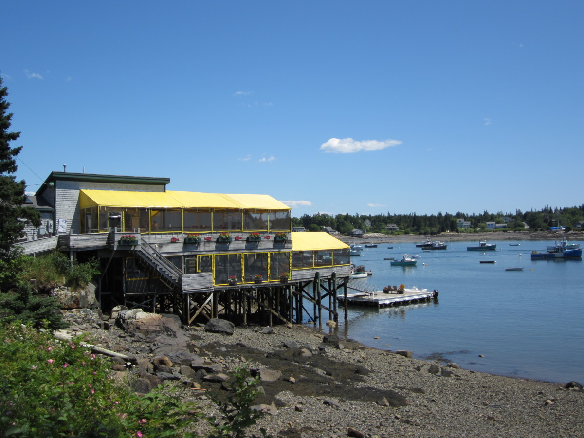 Thurston's Lobster Pound overlooking Bass Harbor