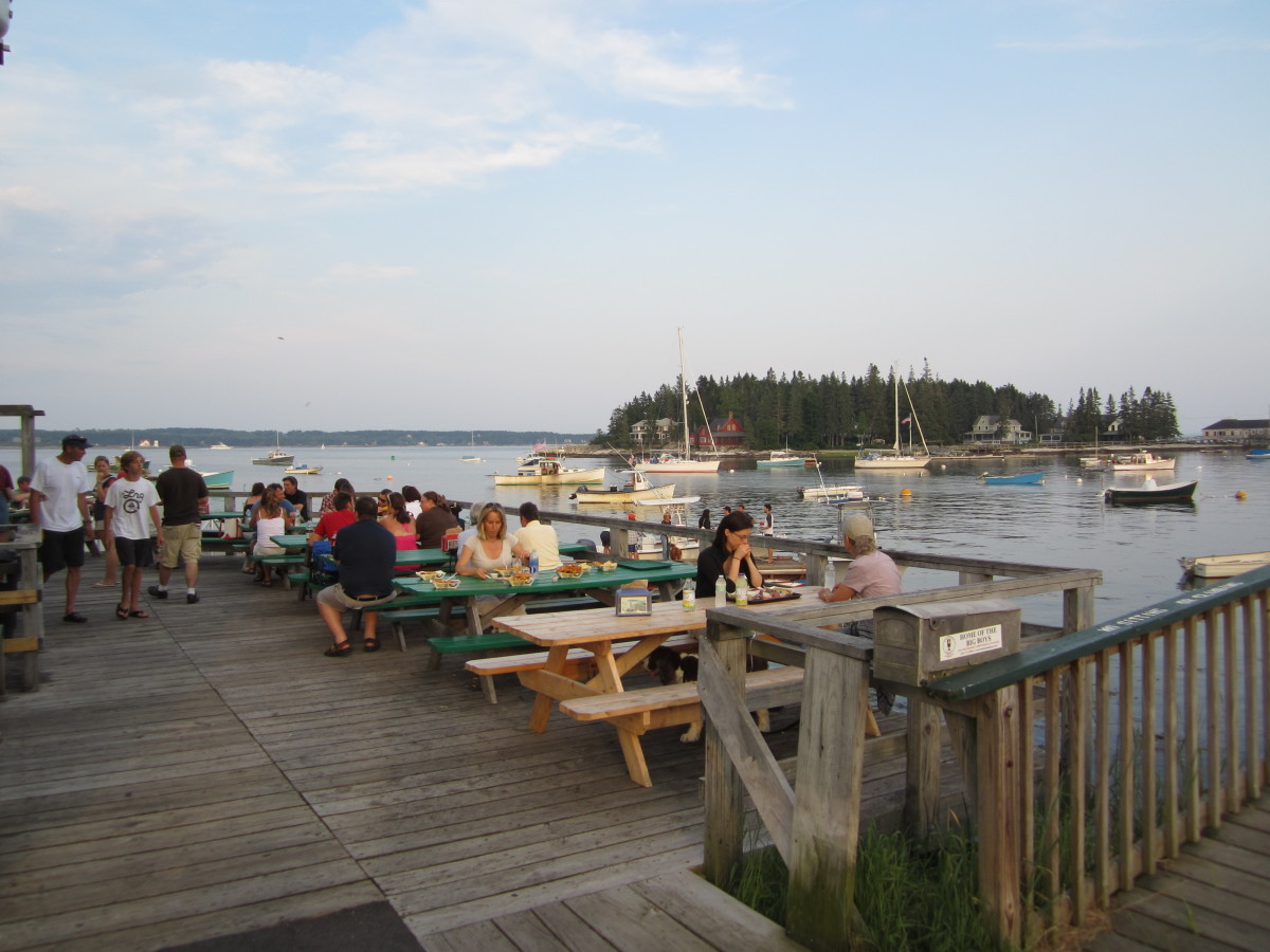 Five Islands deck and picnic tables overlooking Georgetown Harbor