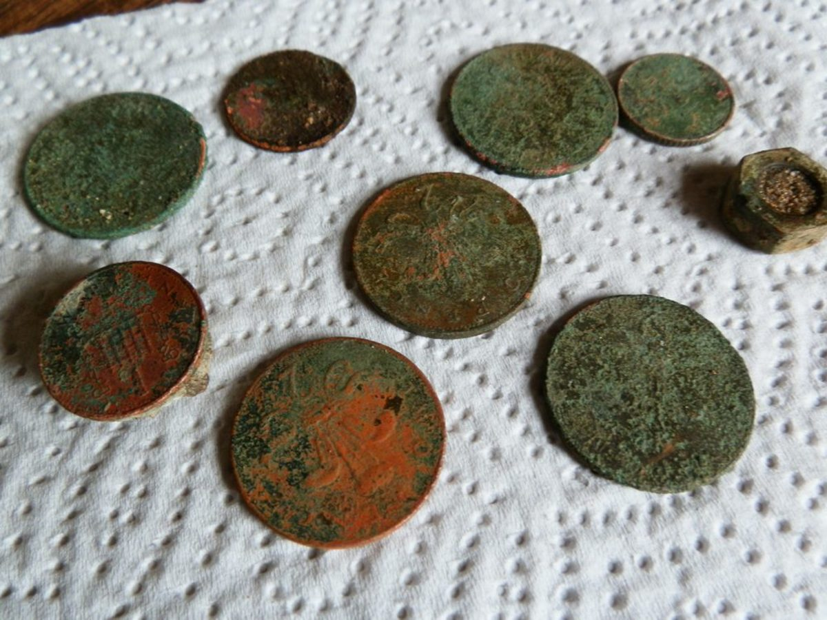 corroded coins found at seaside