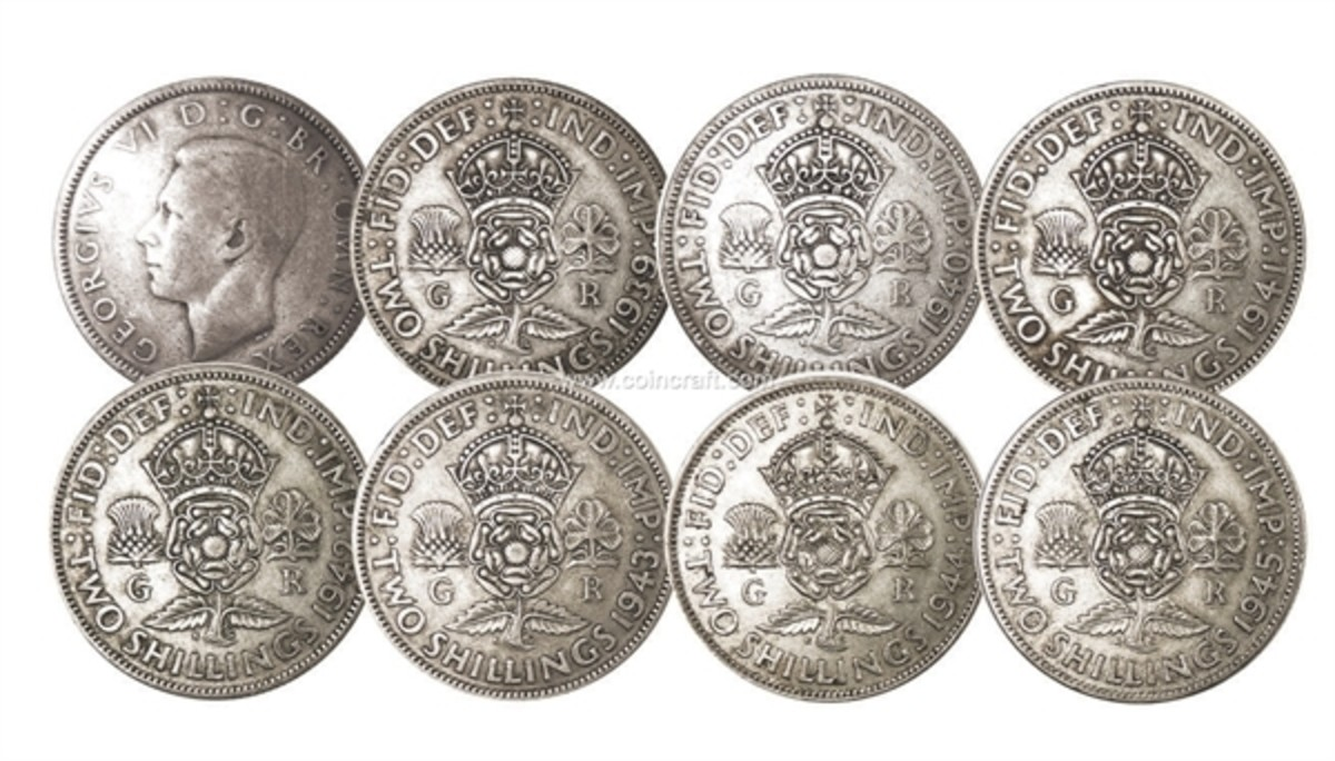 silver florins, pre-1947 and made of sterling silver