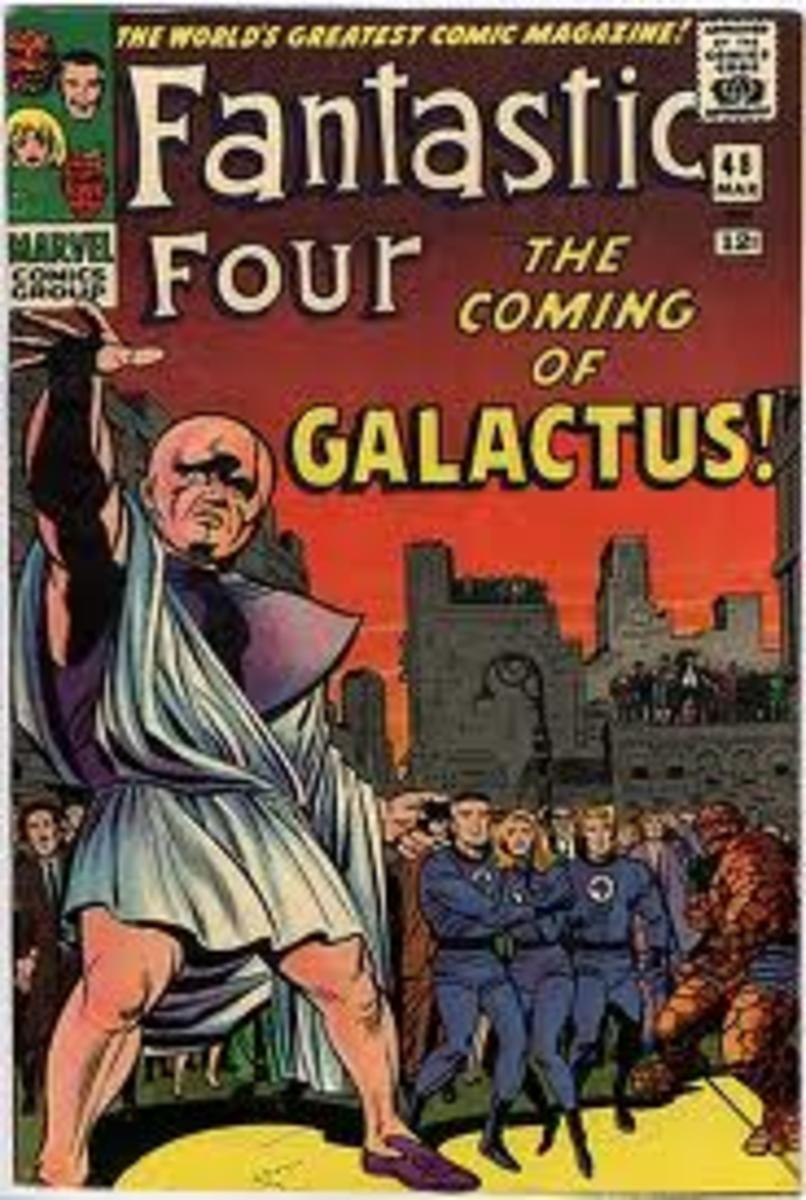 The classic cover to FF # 48, 1st appearance of Galactus and The Silver Surfer, and the 1st part of the Galactus trilogy.