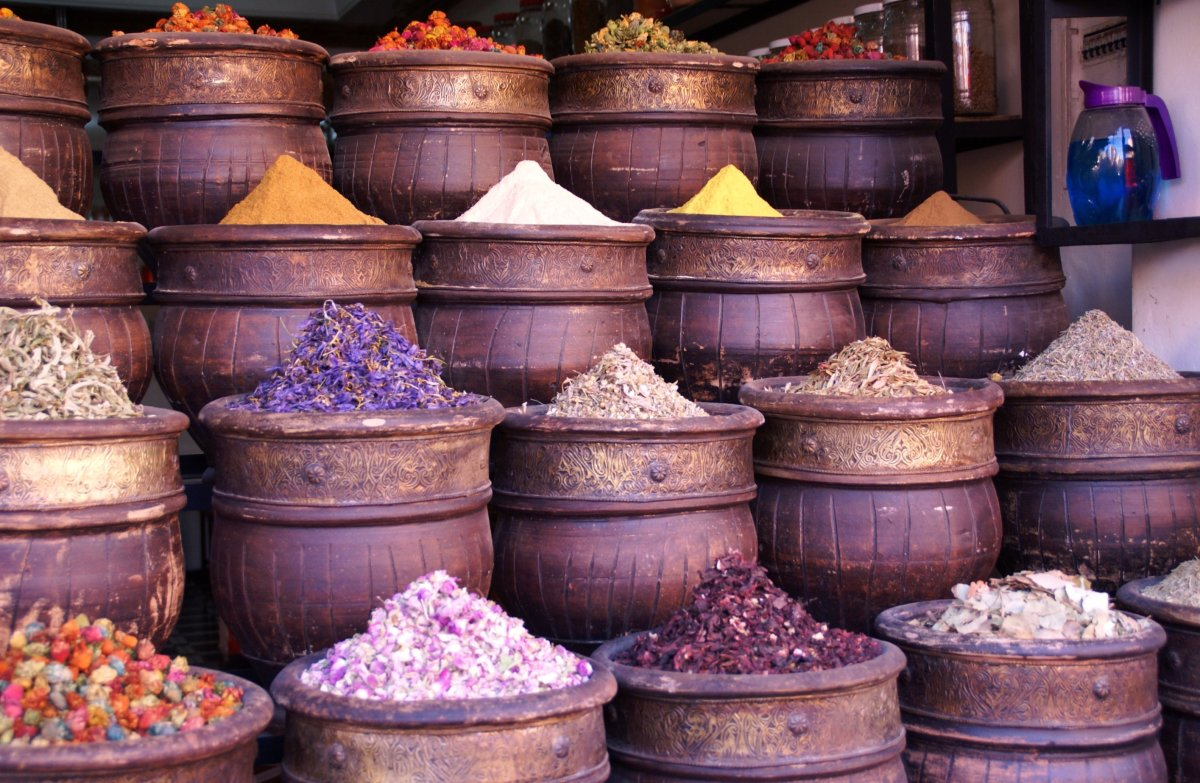 get inspiration from markets selling dried potpourri, spices and herbs.