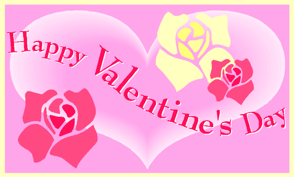 Happy Valentine's Day Image with Heart and Roses