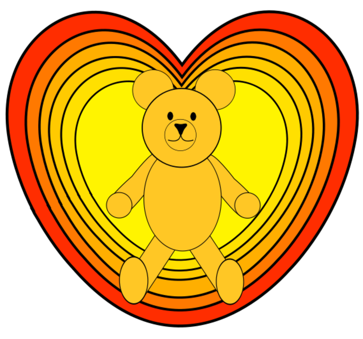 Teddy Bear inside Hearts Clip Art