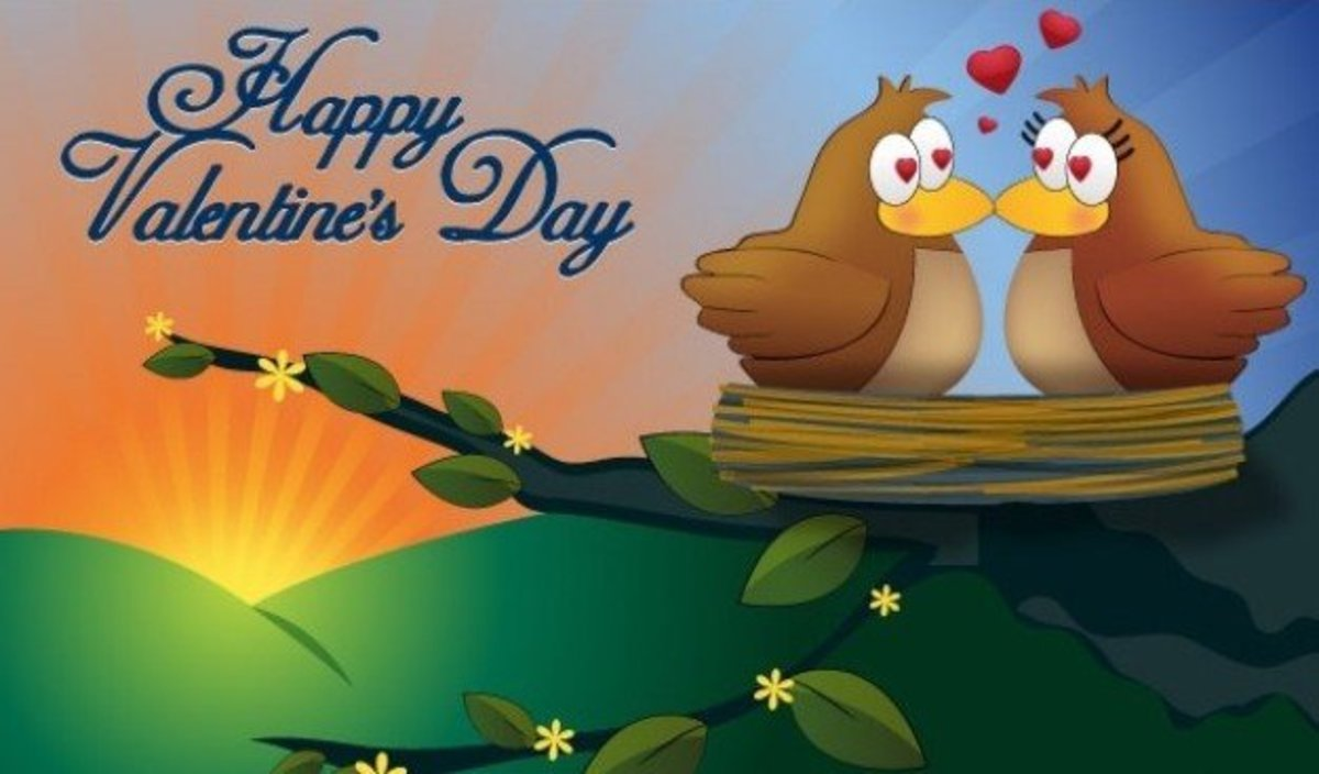 Happy Valentine's Day with Birds in a Nest