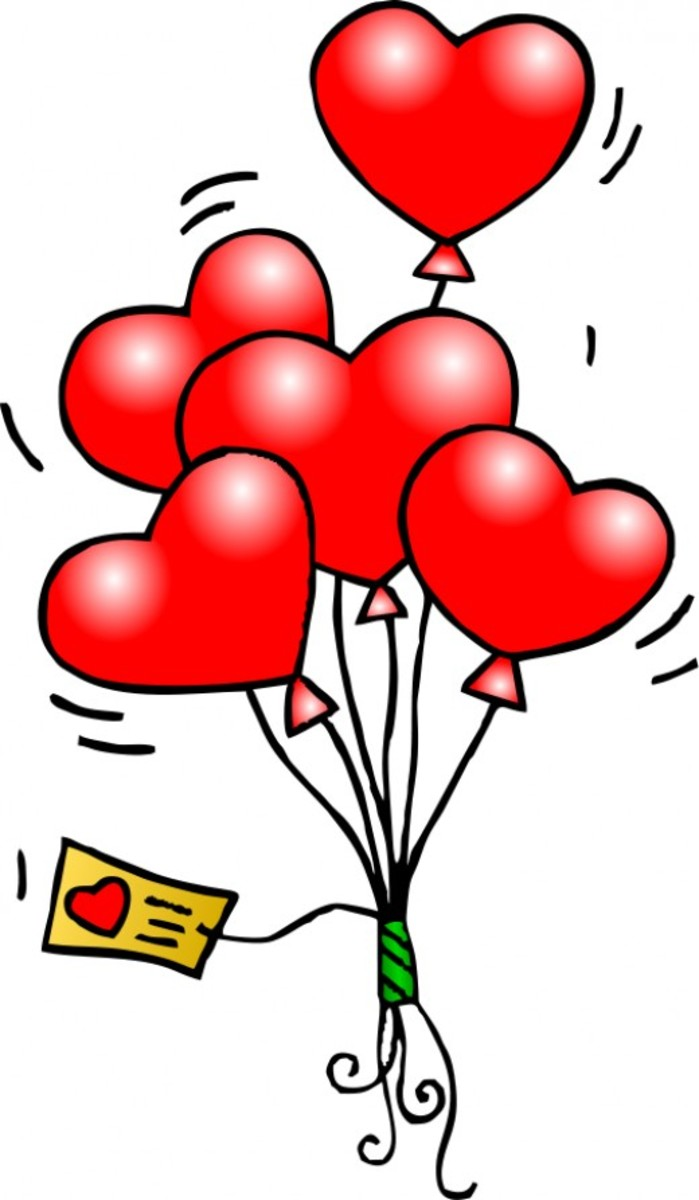 Valentine Heart Balloons Bouquet with Valentine's Day Card