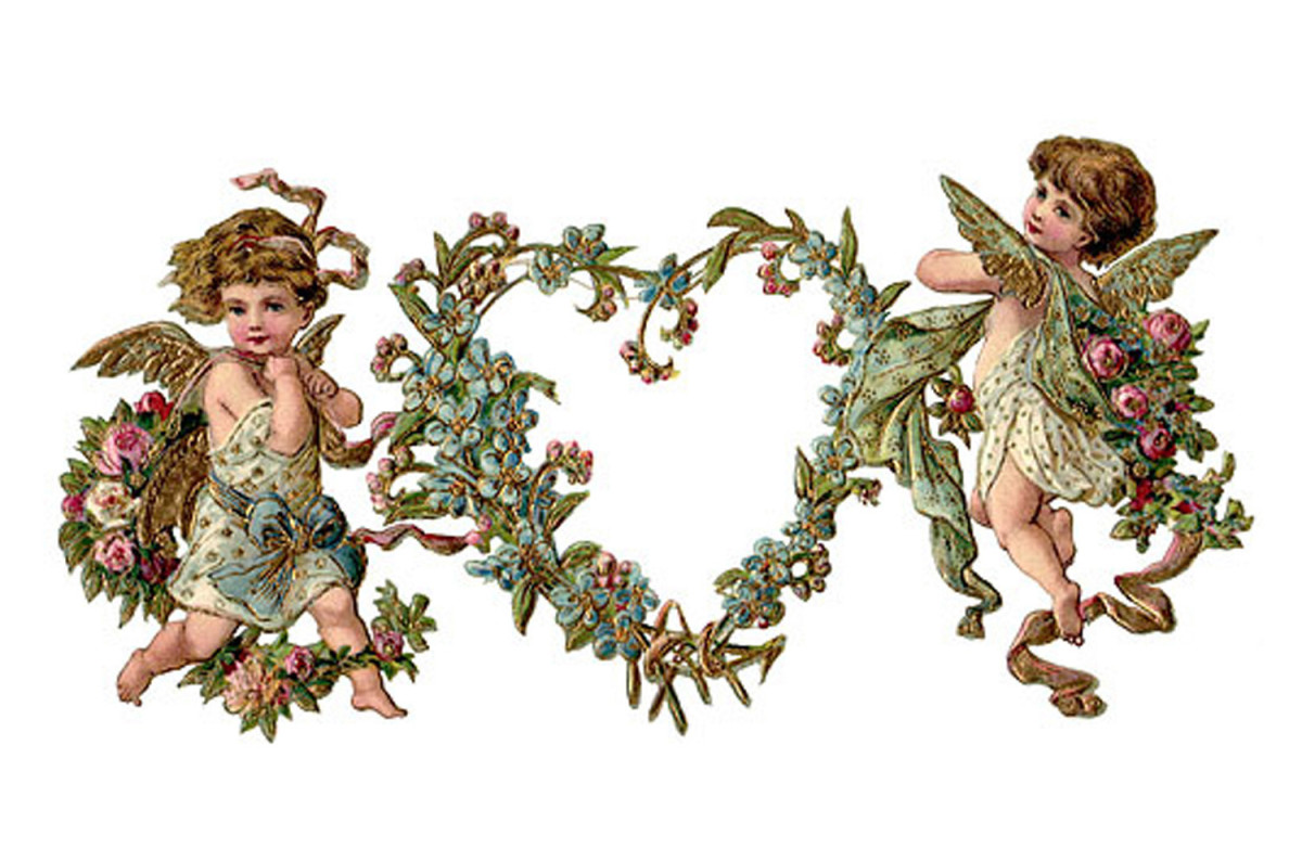 Two Cupids Holding a Heart Wreath