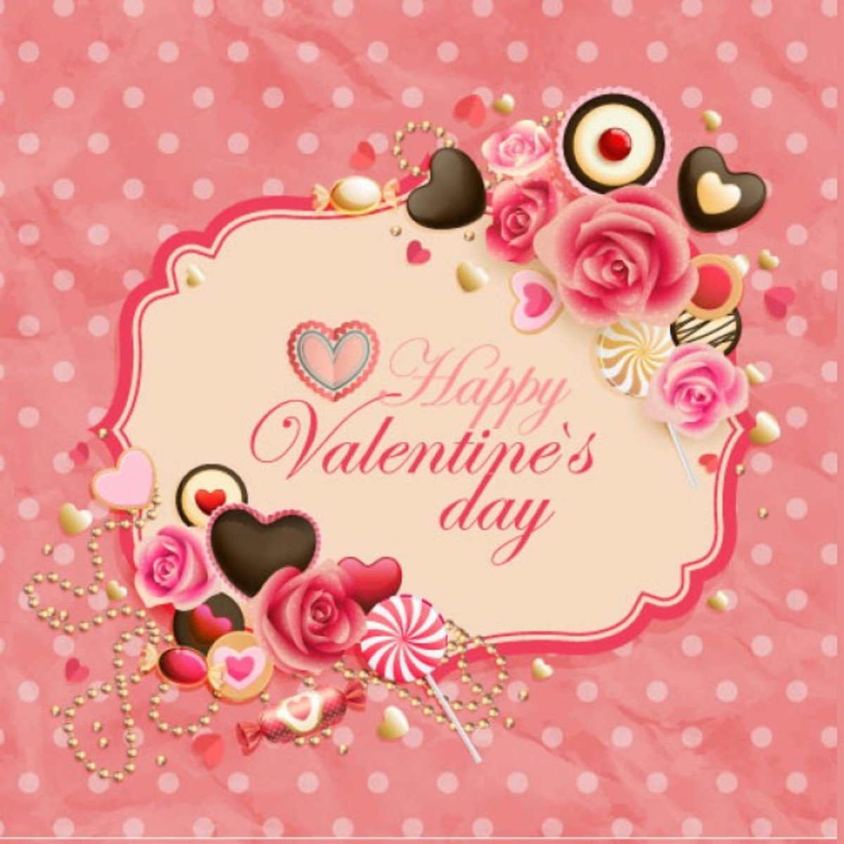 Happy Valentine's Day with Roses and Candy