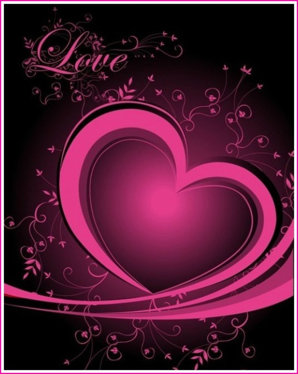 Hot Pink Heart Love Card