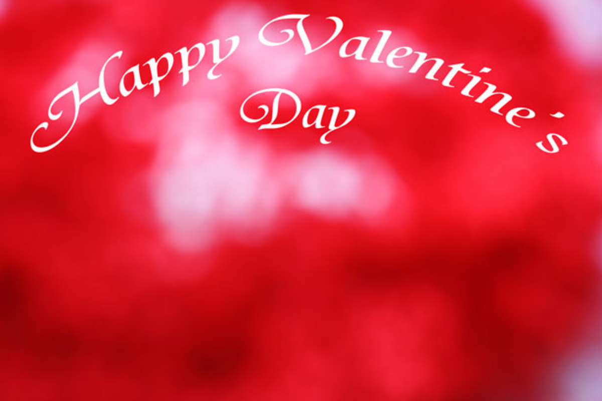 Happy Valentine's Day on Red Background