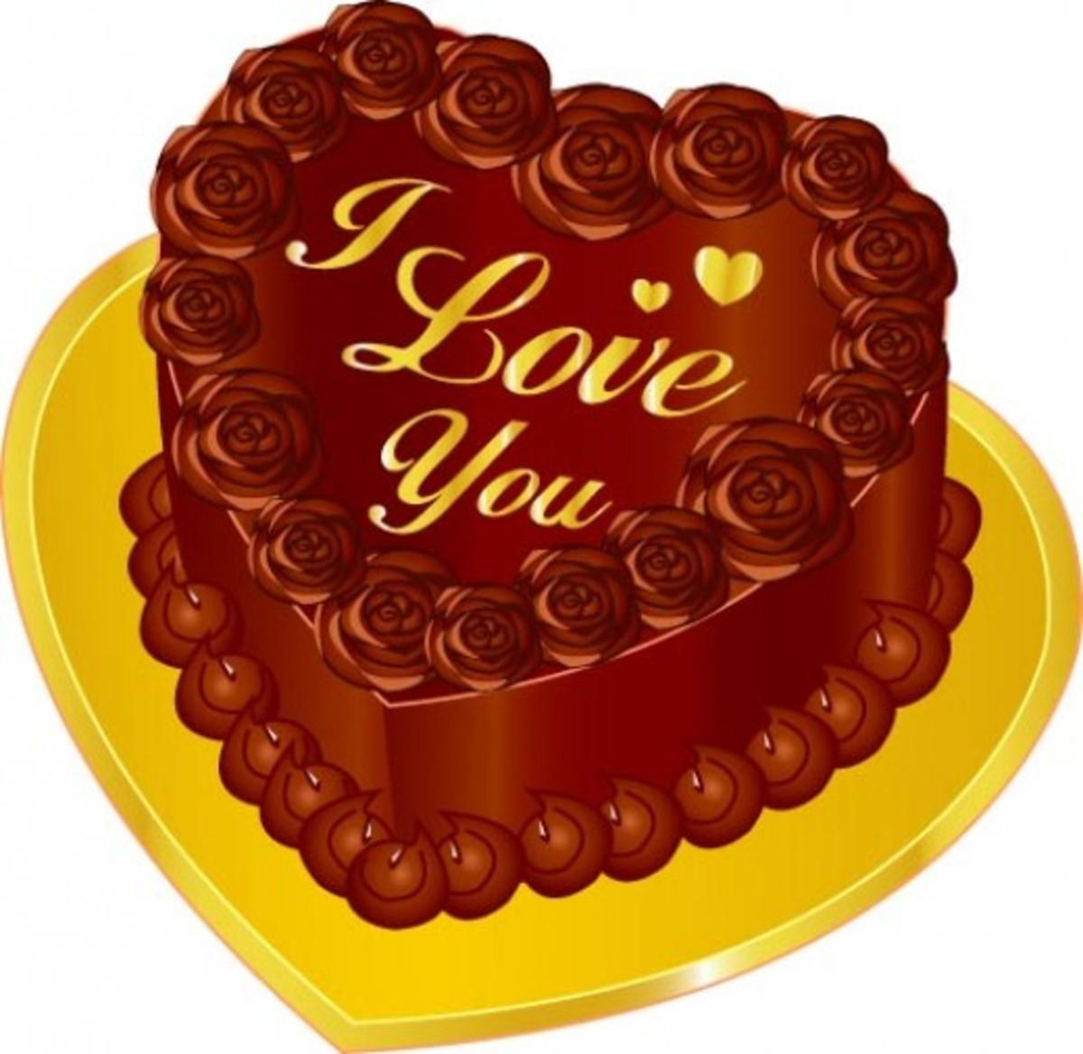I Love You Heart-Shaped Valentine Chocolate Cake