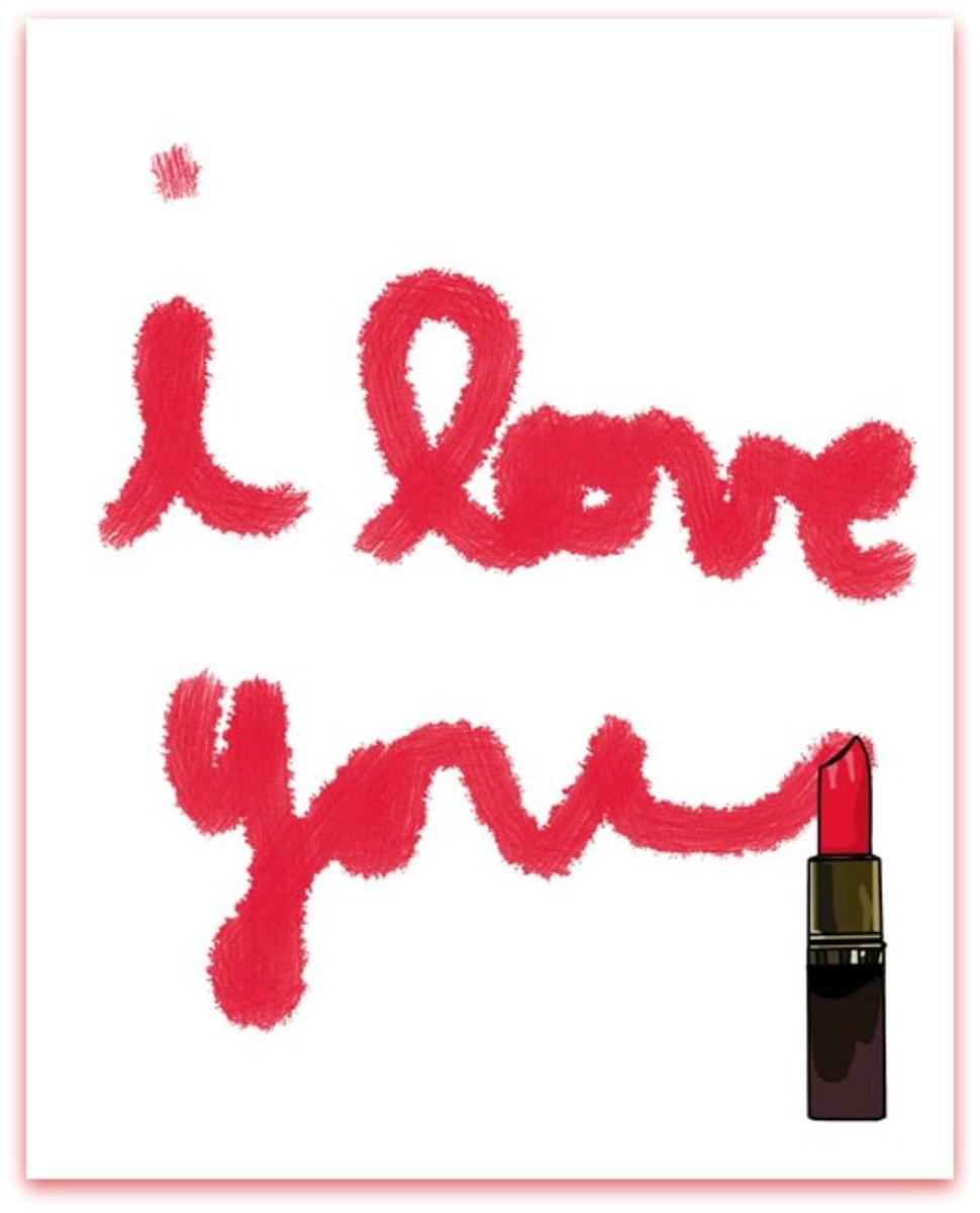 I Love You Written in Lipstick