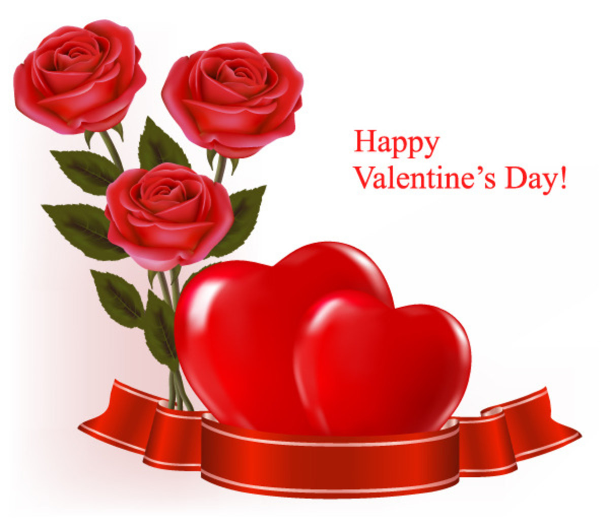 Happy Valentine's Day with Roses and Hearts