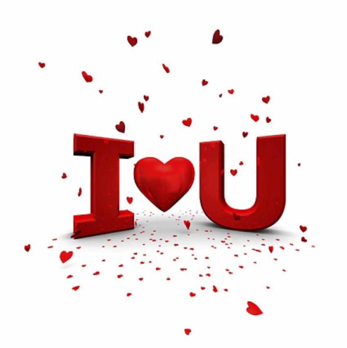 I ♥ U with Floating Hearts
